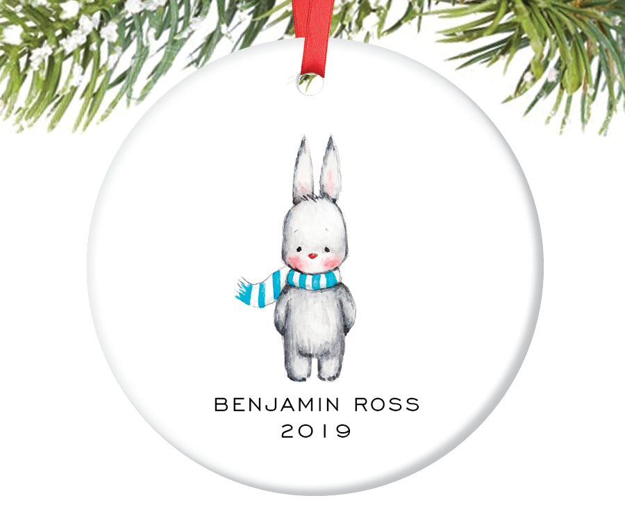 Bunny Christmas Ornament for Boys, Personalized | 211