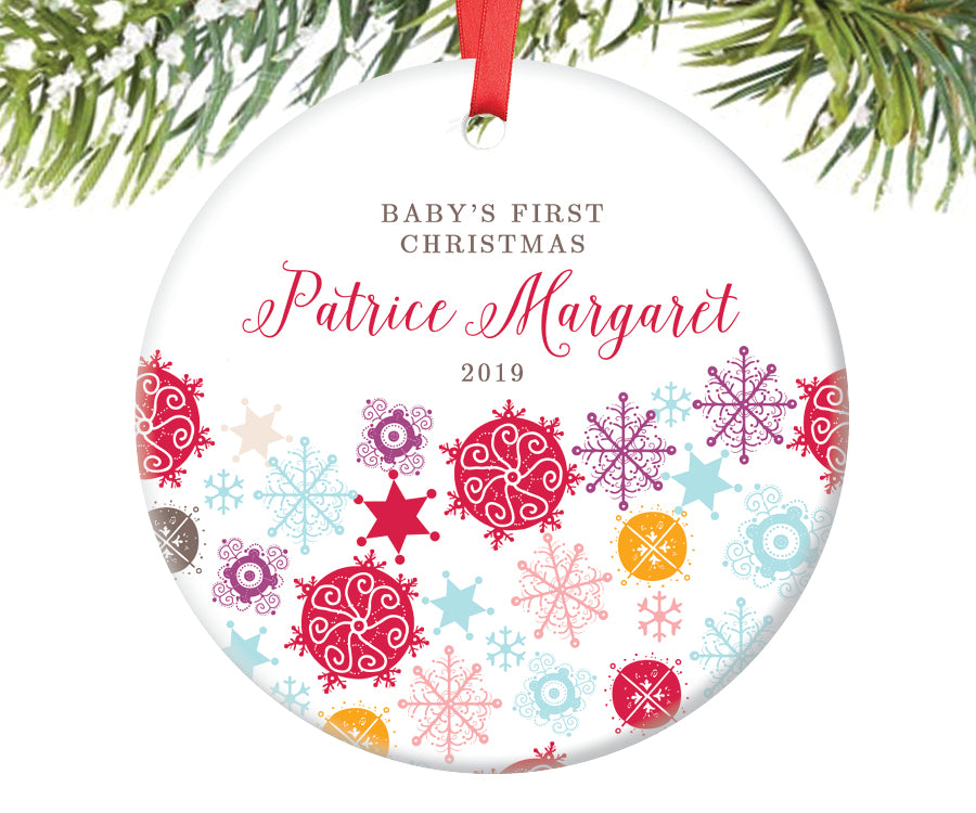 Baby Girl's First Christmas Ornament, Personalized | 217