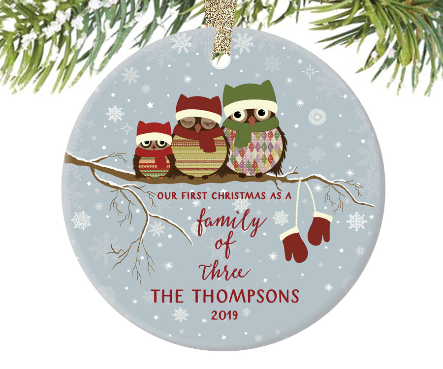 Family of Three Christmas Ornament, Personalized | 245
