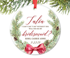 Bridesmaid Christmas Ornament Gift, Personalized | 246