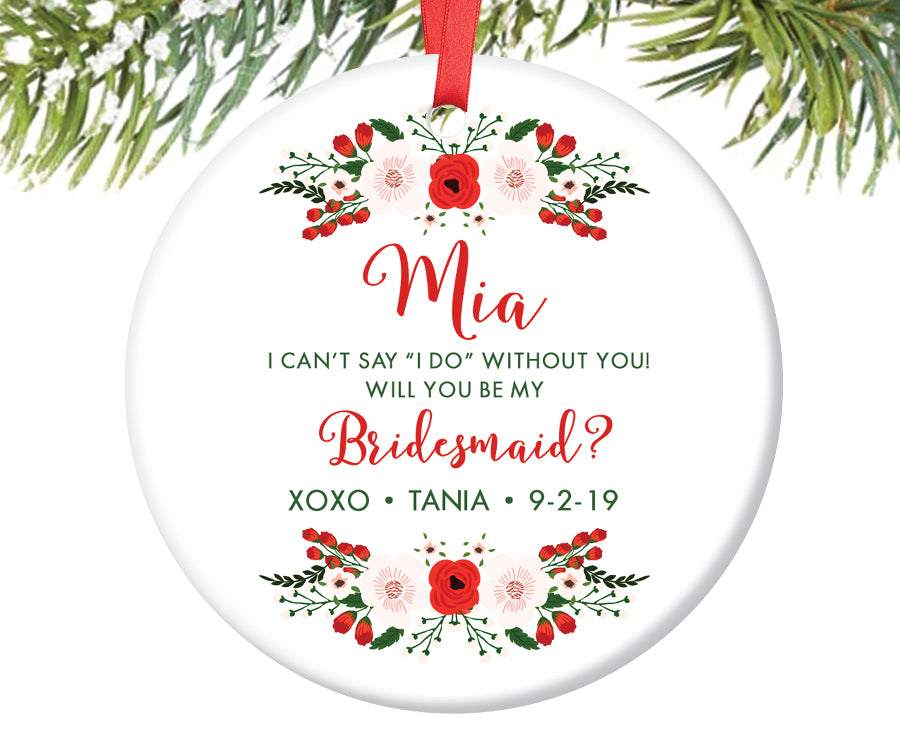 Bridesmaid Christmas Ornament Gift, Personalized | 249