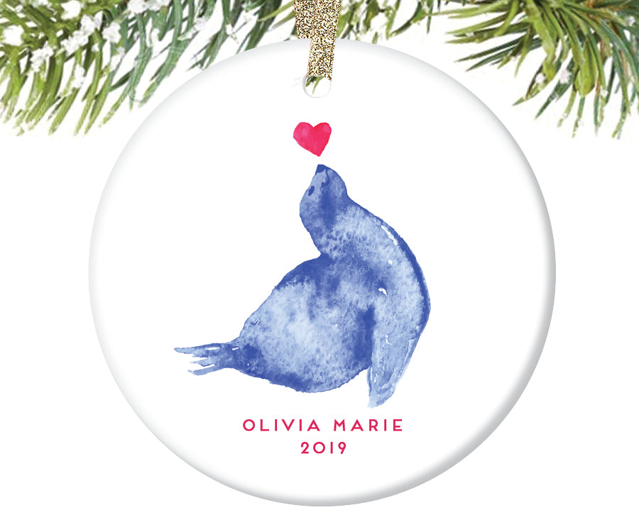 Seal Christmas Ornament, Personalized | 264