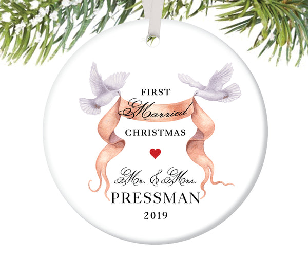 First Christmas as Mr and Mrs Ornament, Personalized | 265