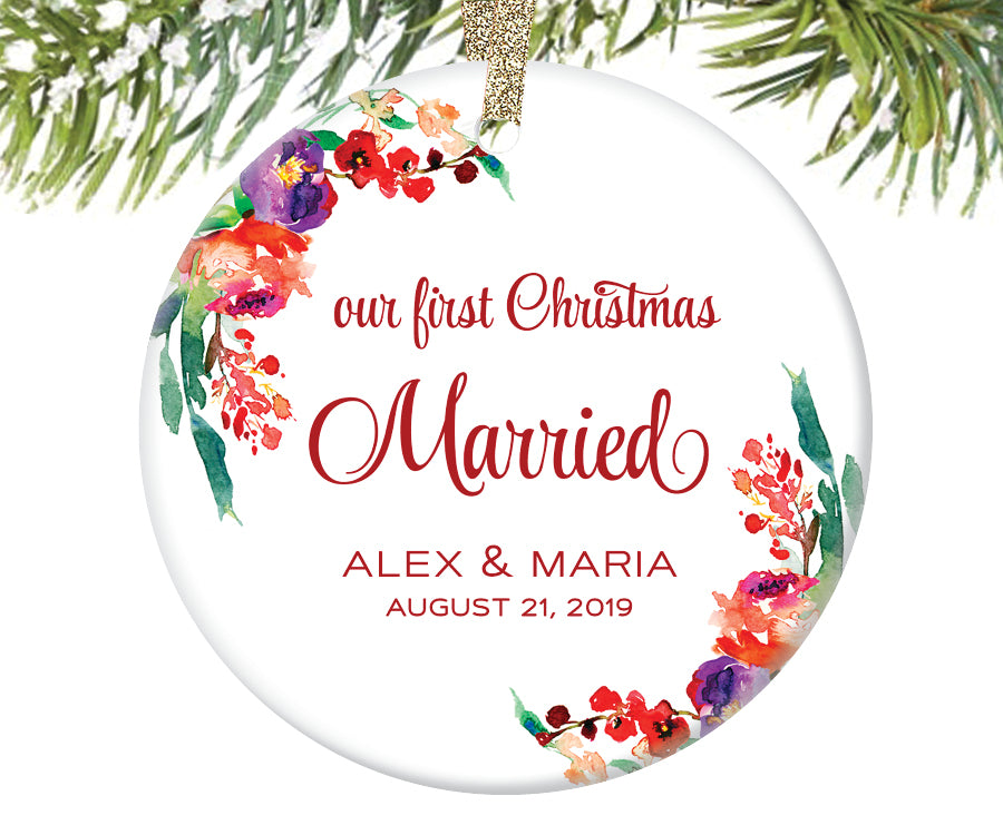 Our First Christmas Married Ornament, Personalized | 325