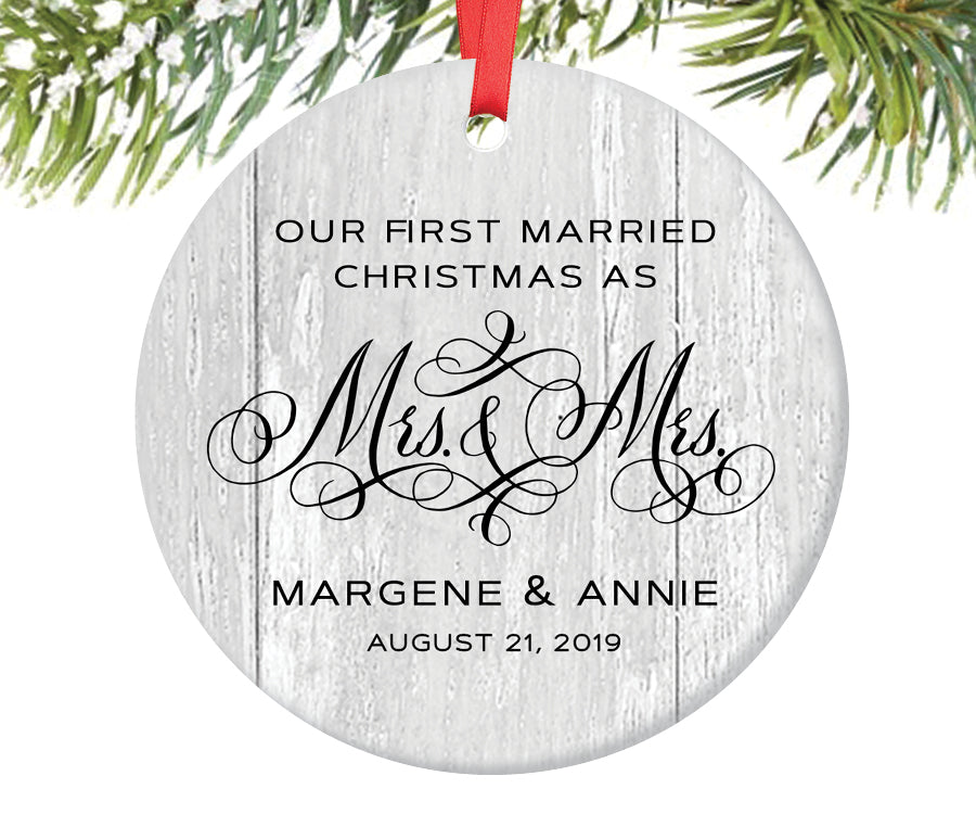 First Christmas as Mrs and Mrs Ornament, Personalized | 327