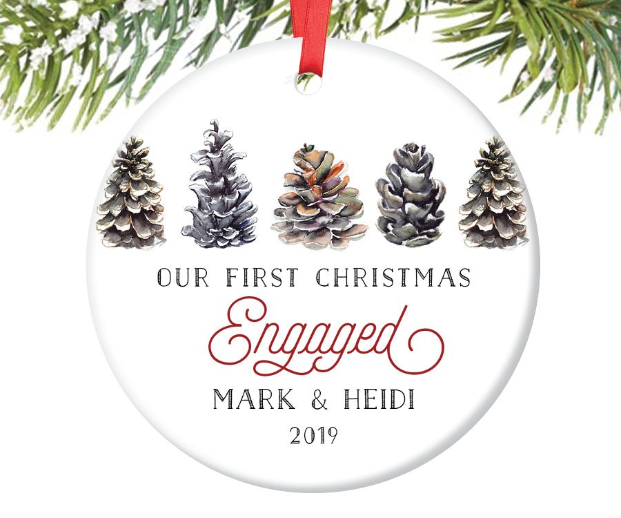 First Christmas Engagement Ornament, Personalized | 331