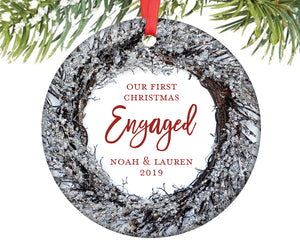 First Christmas Engaged Ornament, Personalized | 361