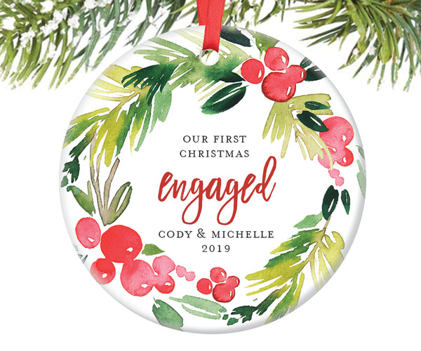 First Christmas Engaged Ornament, Personalized | 367