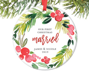 First Christmas Married Ornament, Personalized | 368