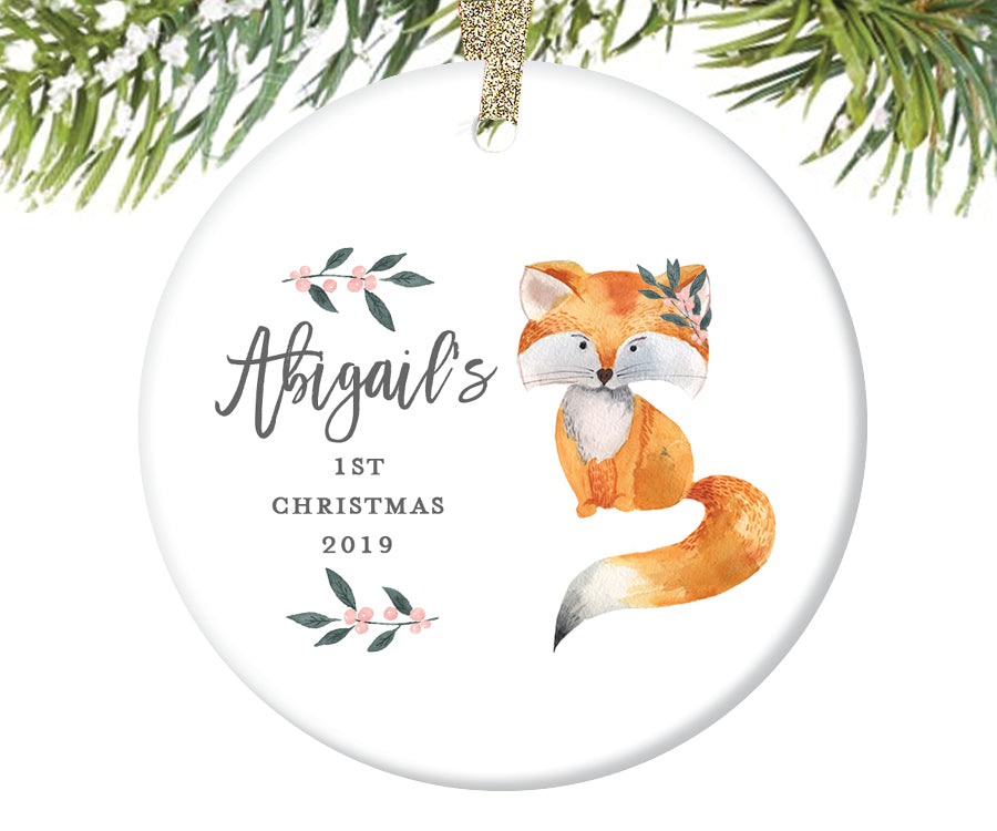 Baby Girl's First Christmas Ornament, Personalized | 379