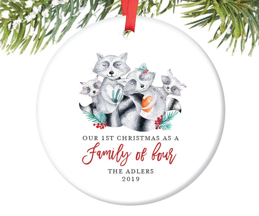 1st Christmas as a Family of Four Ornament, Personalized | 384