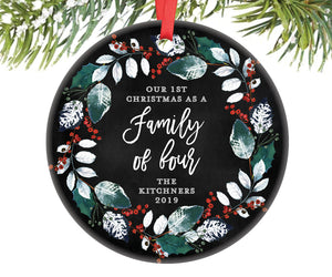 Family of Four Christmas Ornament, Personalized | 385