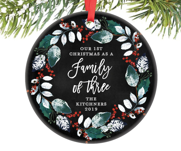 Family of Three Christmas Ornament, Personalized | 386
