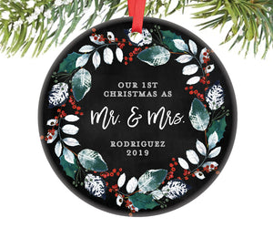 1st Christmas as Mr and Mrs Ornament, Personalized | 387
