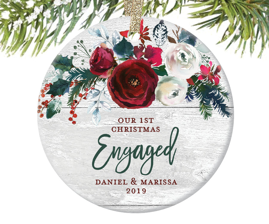 1st Christmas Engaged Ornament, Personalized | 389