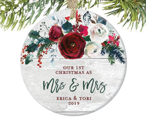 1st Christmas as Mrs and Mrs Ornament, Personalized | 392