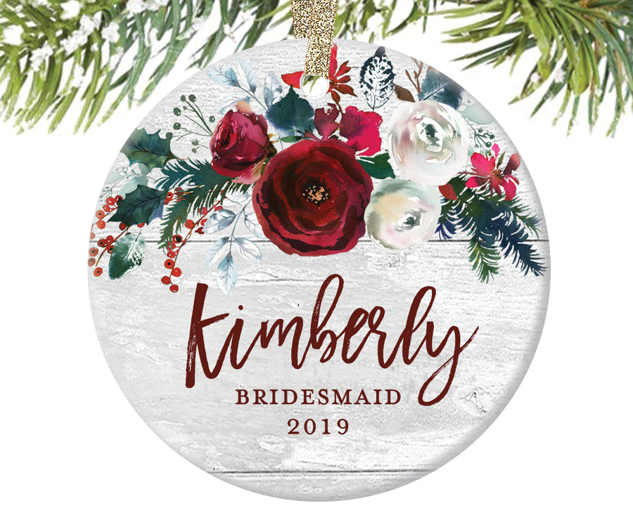 Bridesmaid Christmas Ornament, Personalized | 394