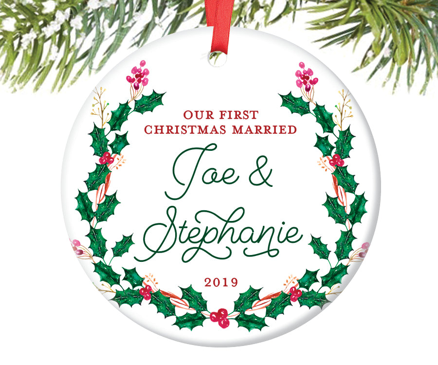 First Christmas Married Ornament, Personalized | 416 ...