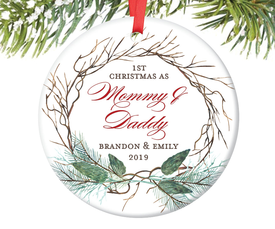 1st Christmas as Mommy and Daddy Ornament, Personalized | 420