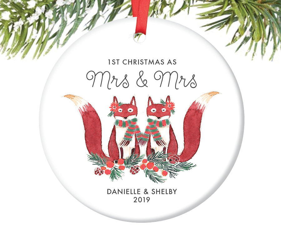 1st Christmas as Mrs and Mrs Ornament, Personalized | 429