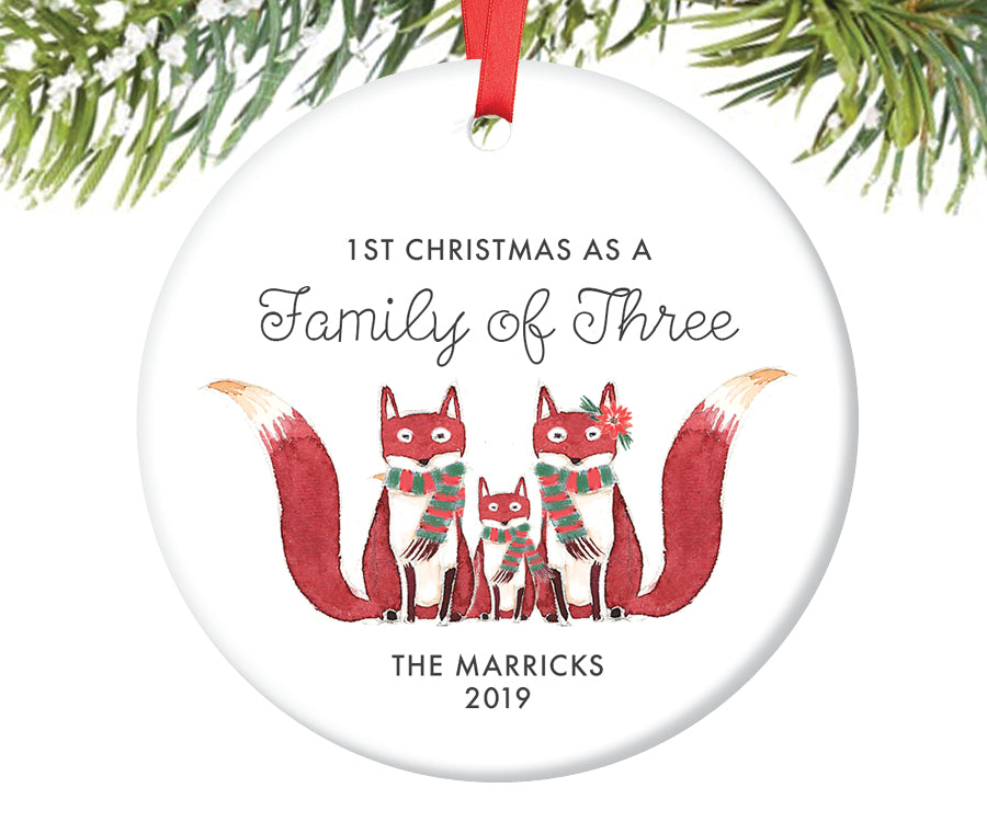 1st Christmas as a Family of Three Ornament, Personalized | 431