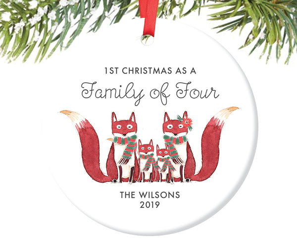 1st Christmas as a Family of Four Ornament, Personalized | 432