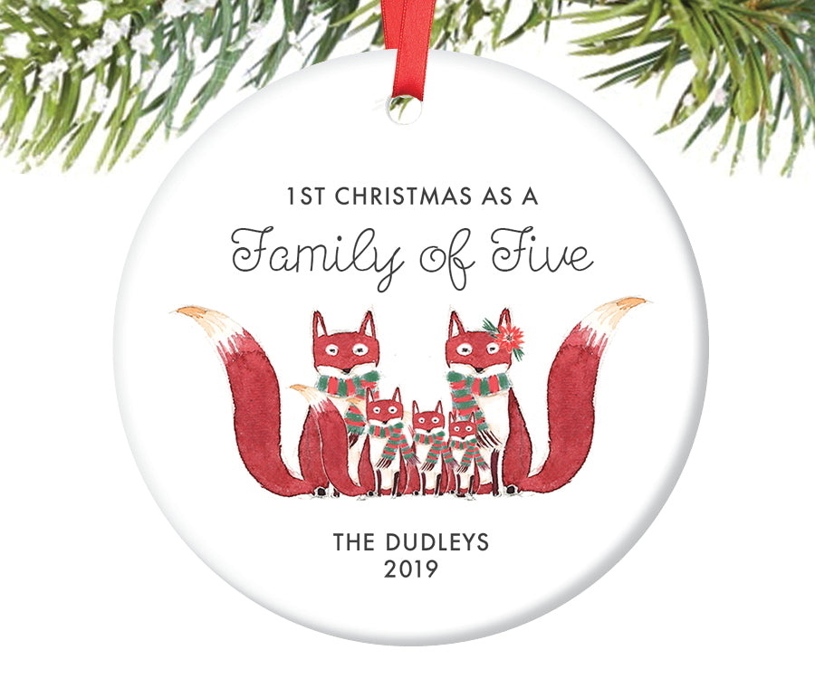 1st Christmas as a Family of Five Ornament, Personalized | 433