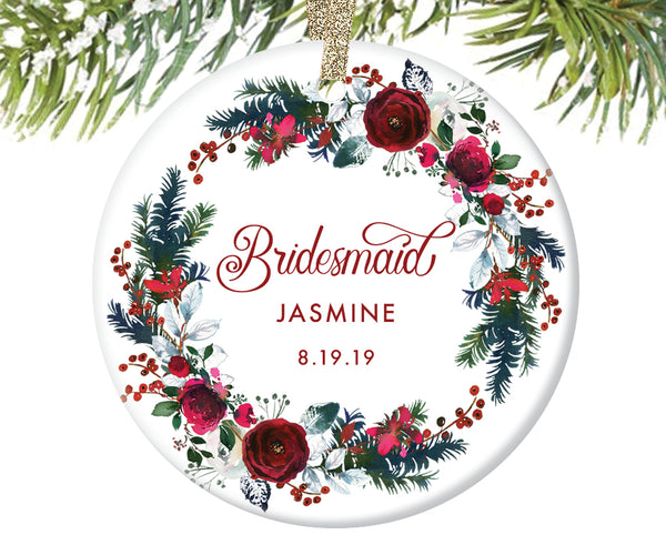 Bridesmaid Christmas Ornament, Personalized | 439