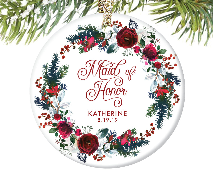 Maid of Honor Christmas Ornament, Personalized | 440