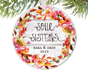 Soul Sisters Christmas Ornament, Personalized | 445