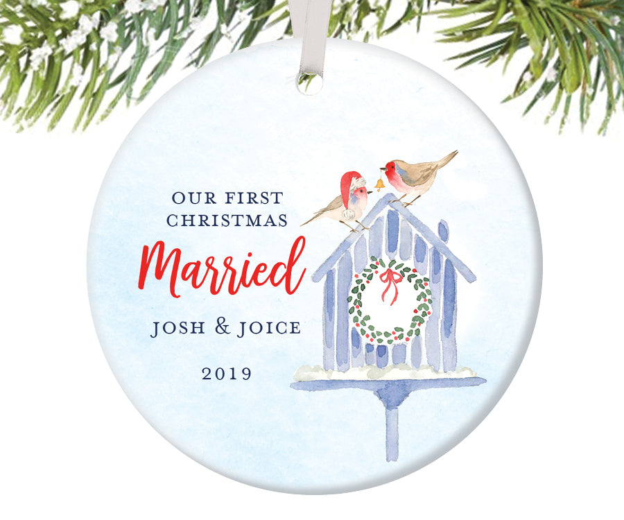 First Christmas Married Ornament, Personalized | 450