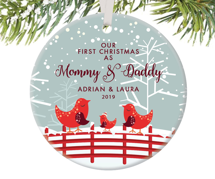 First Christmas as Mommy and Daddy Ornament, Personalized | 452