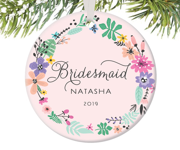 Bridesmaid Christmas Ornament, Personalized | 454