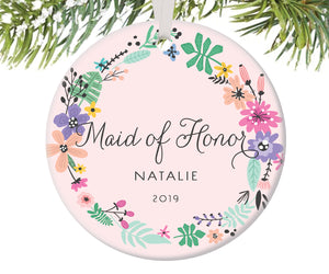 Maid of Honor Christmas Ornament, Personalized | 456
