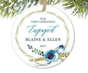 First Christmas Engaged Ornament, Personalized | 466