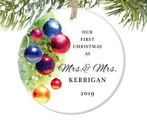 First Christmas as Mrs and Mrs Ornament, Personalized | 470