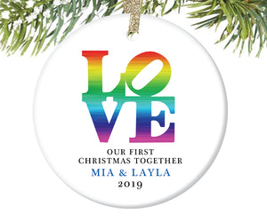First Christmas Together LOVE Ornament, Personalized | 474