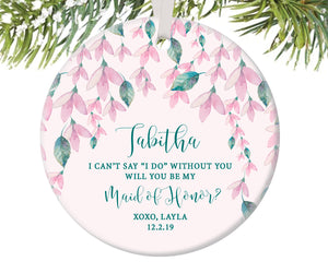 Maid of Honor Proposal Christmas Ornament, Personalized | 477