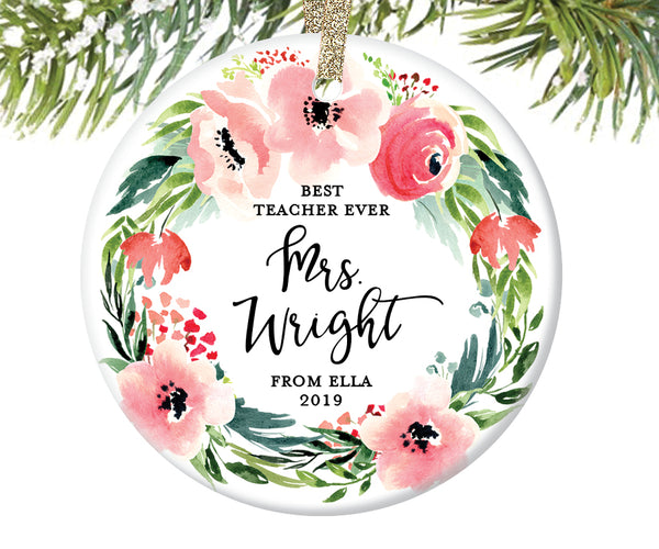 Best Teacher Ever Christmas Ornament, Personalized | 492