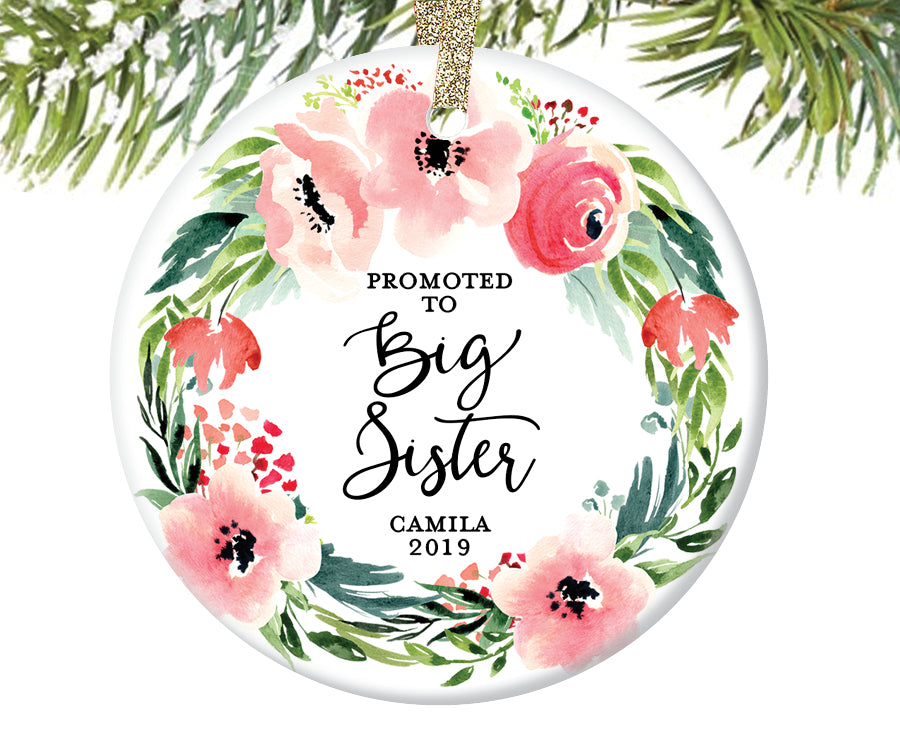 Promoted to Big Sister Christmas Ornament, Personalized | 495