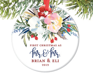 First Christmas as Mr and Mr Ornament, Personalized | 497
