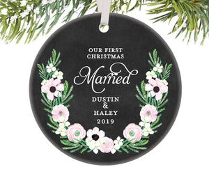 First Christmas Married Ornament, Personalized | 512