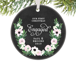 First Christmas Engaged Ornament, Personalized | 513