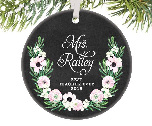 Best Teacher Ever Christmas Ornament, Personalized | 518
