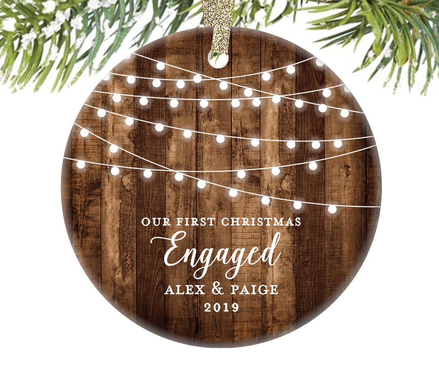 First Christmas Engaged Ornament, Personalized | 521 ...
