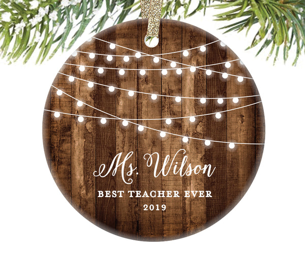 Best Teacher Ever Christmas Ornament, Personalized | 526