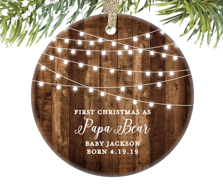 First Christmas as a Papa Bear Ornament, Personalized | 558
