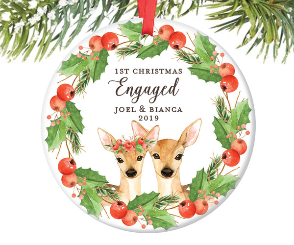 1st Christmas Engaged Ornament, Personalized | 592