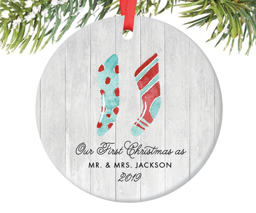 First Christmas as Mr and Mrs Ornament, Personalized | 598