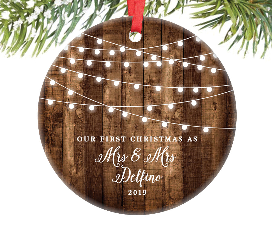 First Christmas as Mrs and Mrs Ornament, Personalized | 607